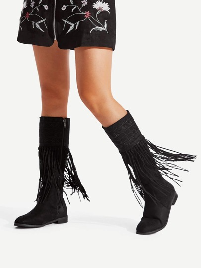 Fringe Decorated Suede Flat Boots