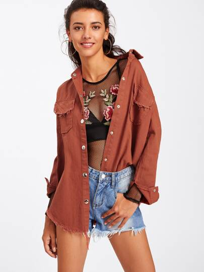 Rust Frayed Curved Hem Jacket