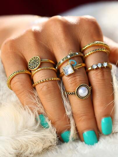 Faux Pearl & Gemstone Detail Ring Set
