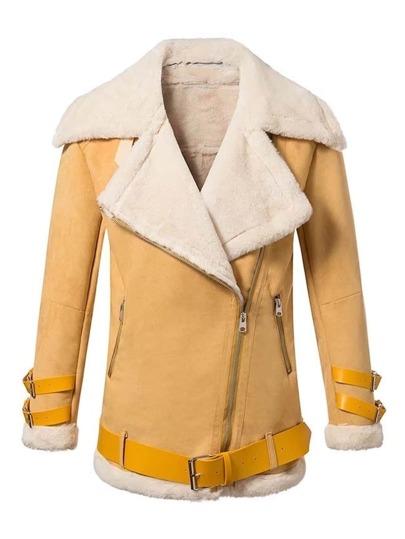 Blouson en nubuck avec cuir faux à l\'intérieur et ceinture