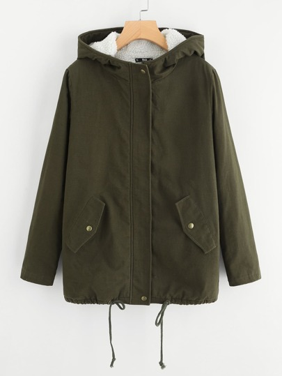 Fleece Lining Drawstring Hem Coat