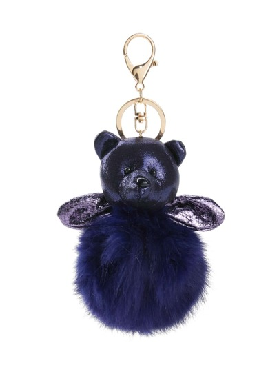Bear Design Keychain With Pom Pom