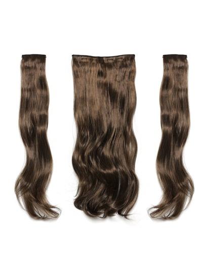 Extension des cheveux vague léger avec pince 3pcs brun foncé & caramel