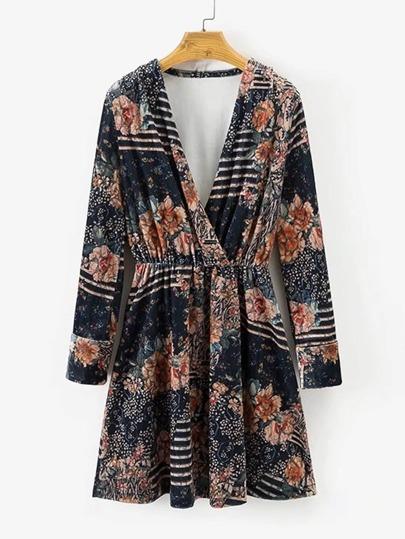 Surplice Neckline Velvet Floral Dress