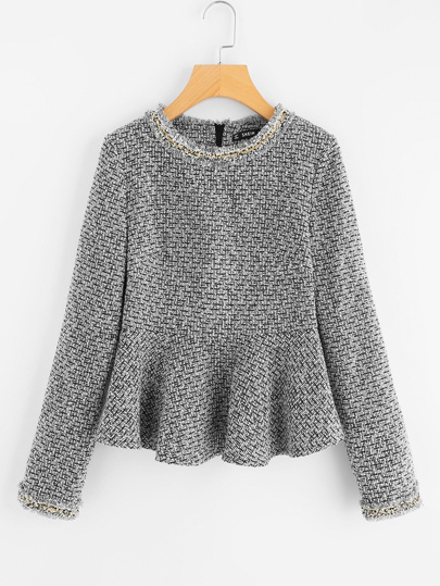 Top tweed con detalle de flecos