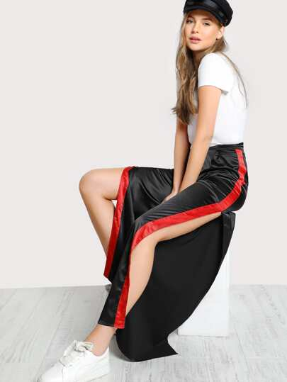 Satin Side Striped Pants BLACK
