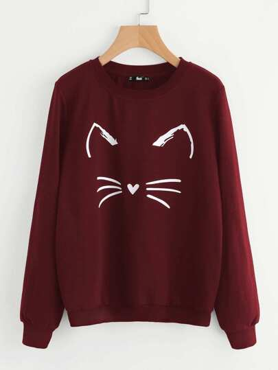 Sweatshirt mit Karikatur Katzemuster