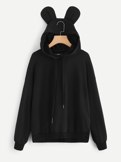 Slit Side Sweatshirt With Ear Hoodie