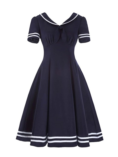 Knot Front Striped Trim Flare Dress