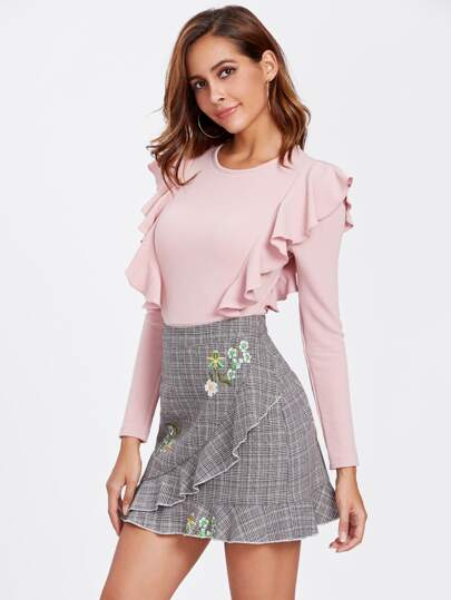 Flower Embroidered Frilled Plaid Skirt