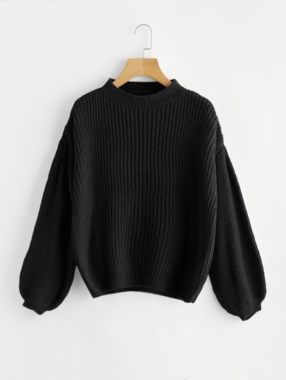 Drop Shoulder Lantern Sleeve Sweater