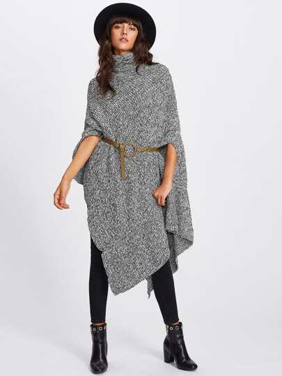 Space Dye Pointed Hem Poncho Sweater