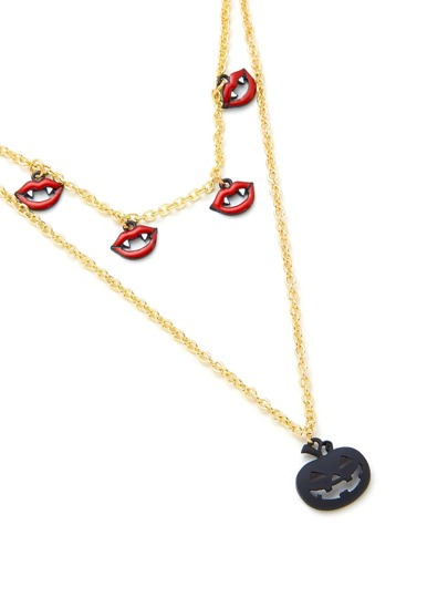 Pumpkin & Lips Design Pendant Chain Necklace