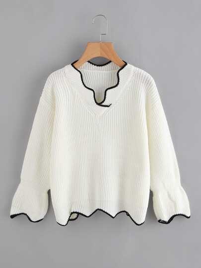 Chevron Hem Ringer Texture Knit Sweater
