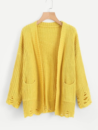Open Front Ripped Texture Knit Sweater