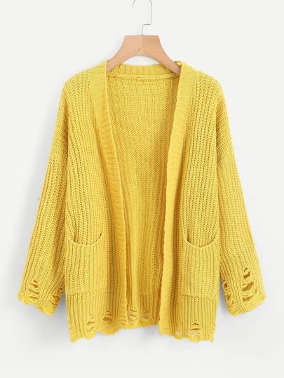 Pull tricoté texture ouvert avant