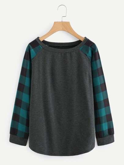 Contrast Checked Sleeve Sweatshirt