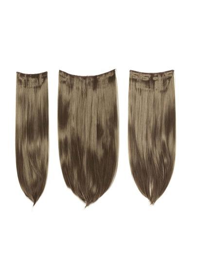 3 piezas de extensión de pelo recto rubio oscuro