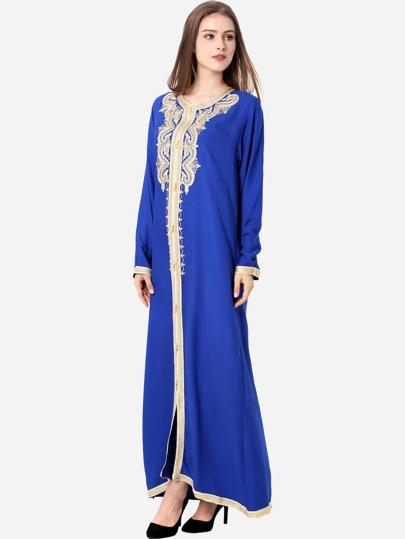 Contrast Trim Appliques Hijab Evening Dress