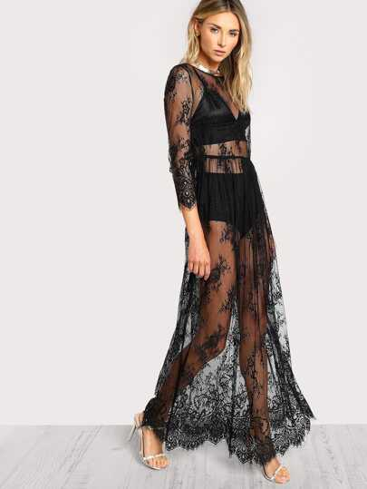 Buttoned Split Back Sheer Floral Lace Dress