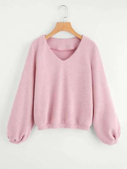V Neck Ribbed Knit Pullover
