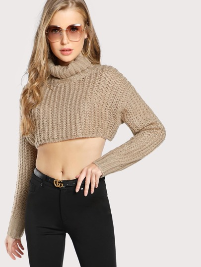 Turtleneck Cable Knit Crop Sweater TAUPE