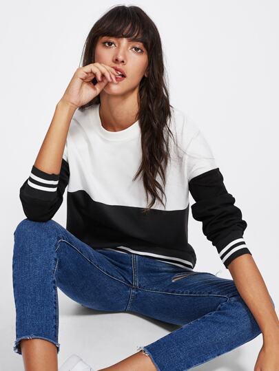 Two Tone Striped Sweatshirt