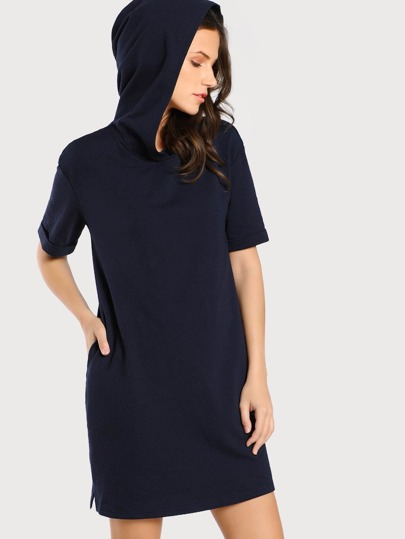 Roll Cuff Vented Hem Tee Dress With Hood