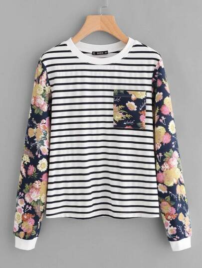Mixed Print Pocket Front Sweatshirt