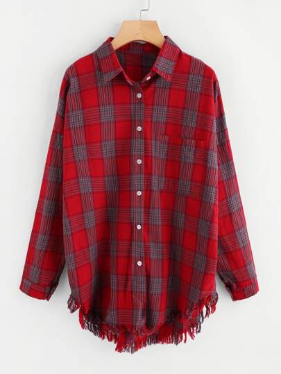 Checked Fringe Hem Shirt
