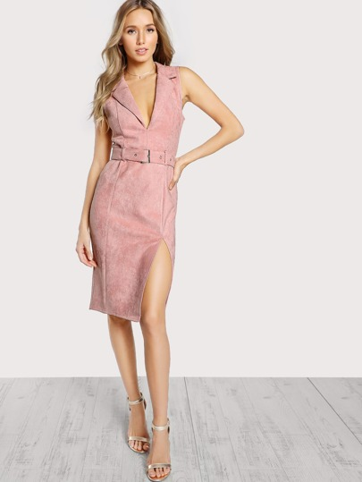 Notch Collar Self Belted Tailored Suede Dress