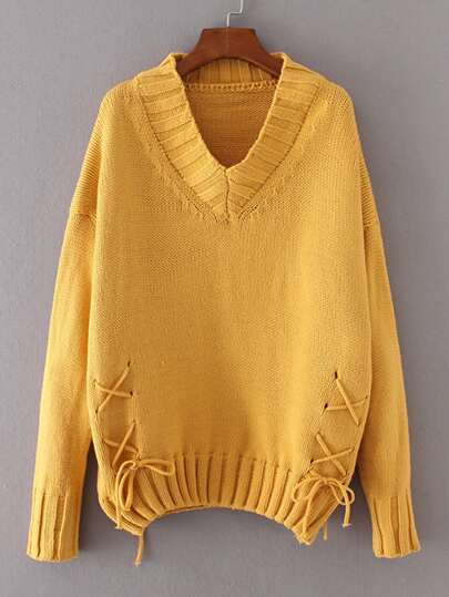 Ribbed Trim Lace Up Sweater