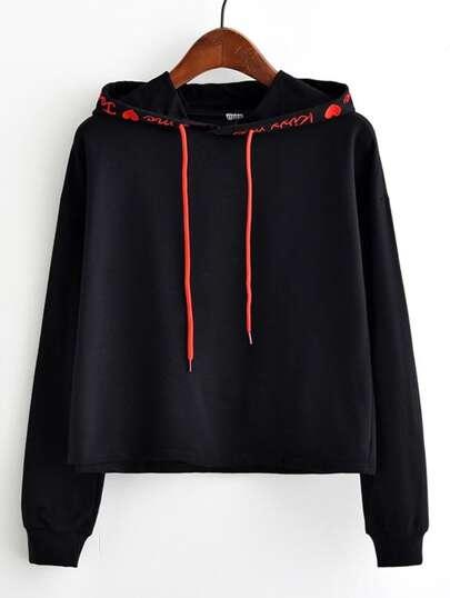 Letter Print Hooded Drawstring Sweatshirt