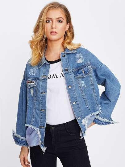 Jeans Jacke mit Stickerein