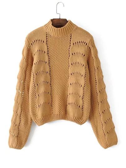 Crew Neck Pointelle Sweater