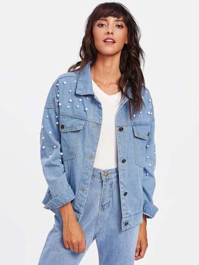 Модная джинсовая куртка с бусинами
