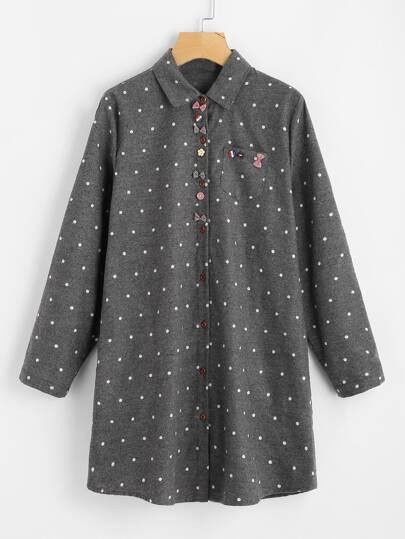 Bow Embellished Polka Dot Shirt Dress