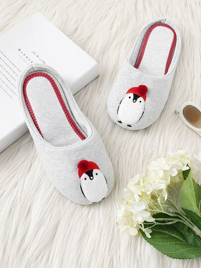 Penguin Embroidery Slippers