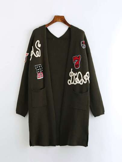 Slit Side Patched Open Front Longline Cardigan