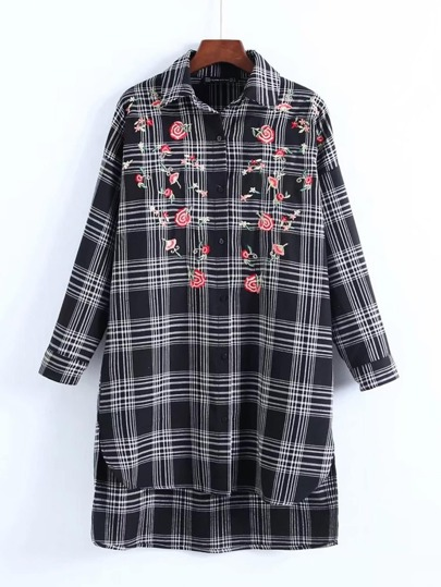 Embroidered Flower Plaid Shirt Dress