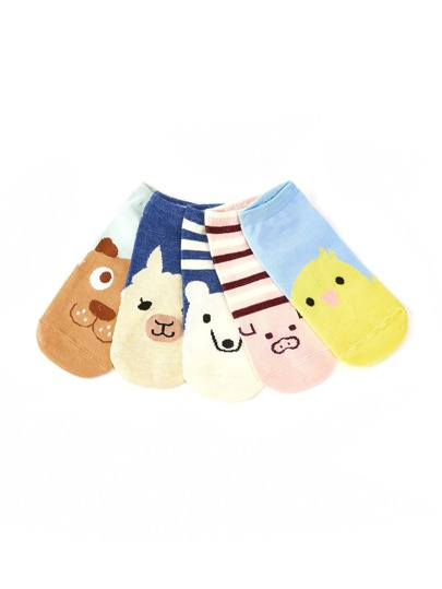 Animal Pattern Invisible Socks 5pairs