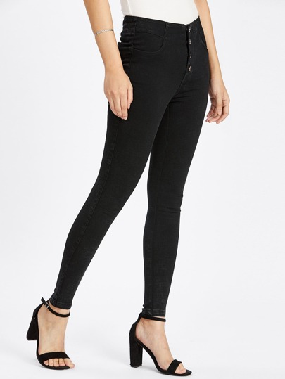 Button Front Lace Up Back Skinny Jeans