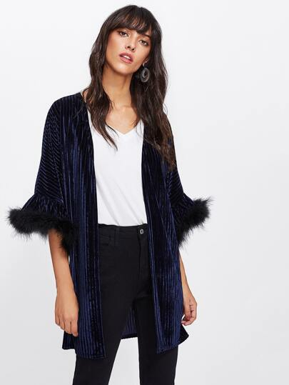 Contrast Faux Fur Trim Sleeve Velvet Kimono