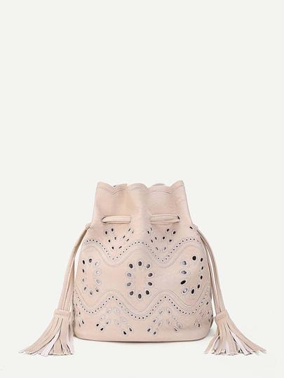 Tassel Drawstring PU Crossbody Bag