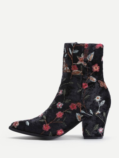 Side Zipper Calico Embroidery Velvet Ankle Boots