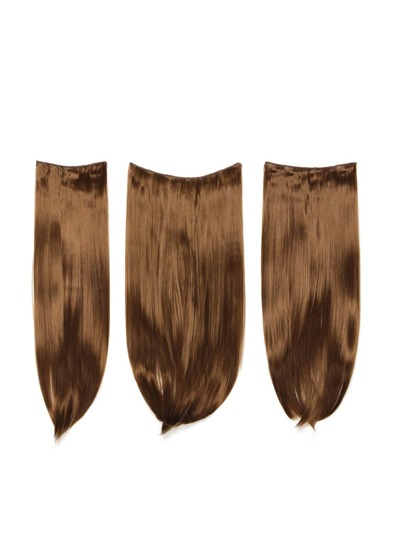 3 piezas de extensión de pelo recto marrón
