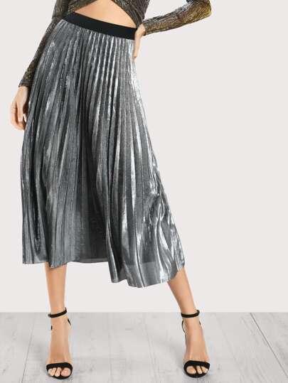 Pleated Lurex Skirt SILVER