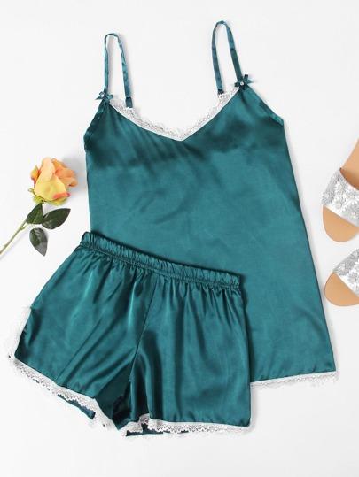 Lace Trim Satin Cami And Shorts Pajama Set