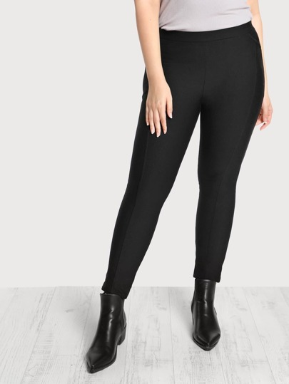 Piped High Rise Stretch Pants BLACK