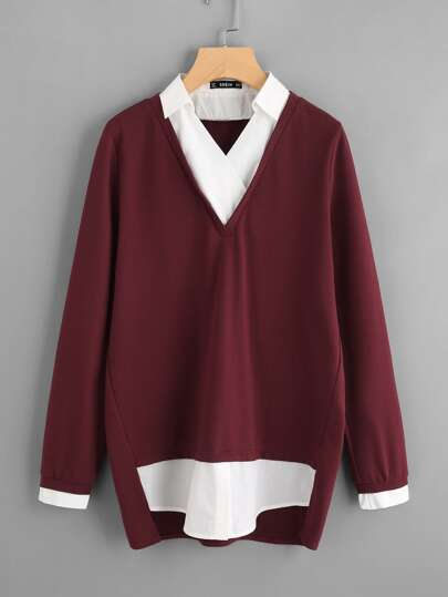 Contrast Dip Hem 2 In 1 Pullover